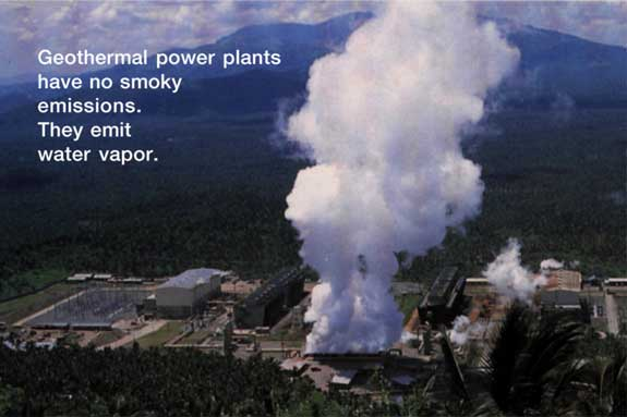 you see at geothermal power plants are steam (water vapor). Geothermal ...